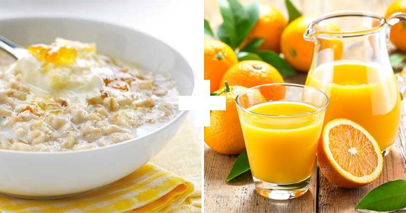 апельсиновый сок с измельченнымиовсяными хлопьями
