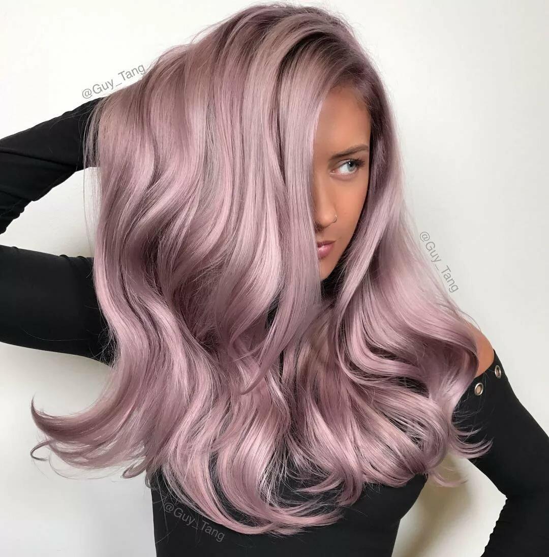 Как выглядит пепельно-розовый цвет волос