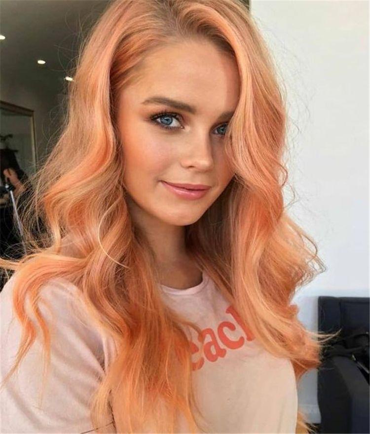 Цвет волос персик