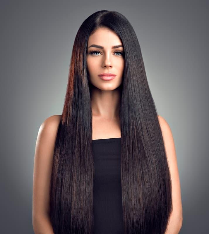 Длинные и прямые густые волосы