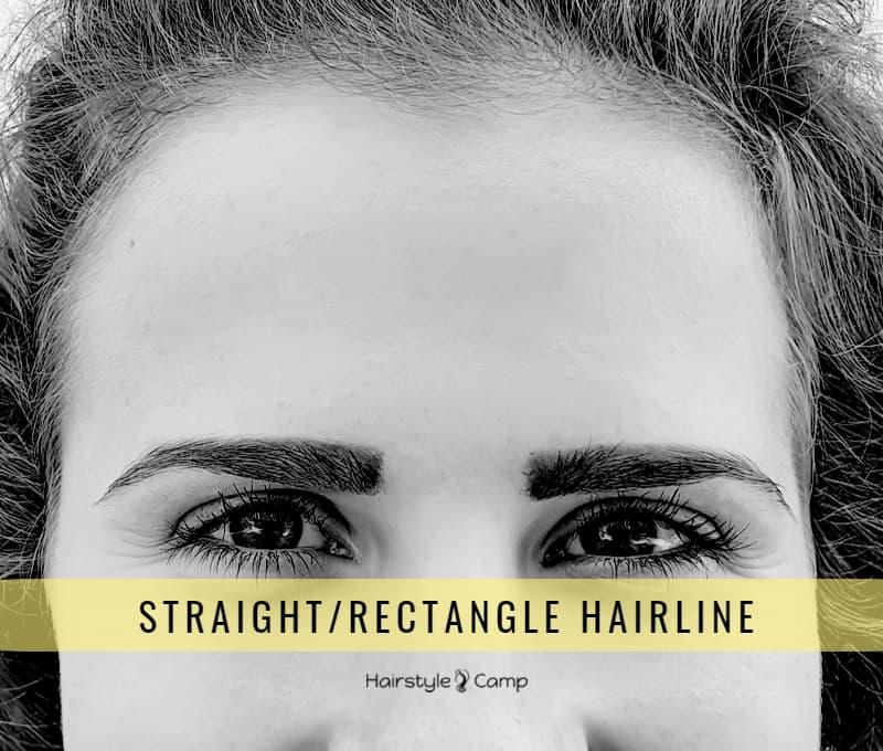 Прямая (прямоугольная) линия роста волос на лбу у женщин