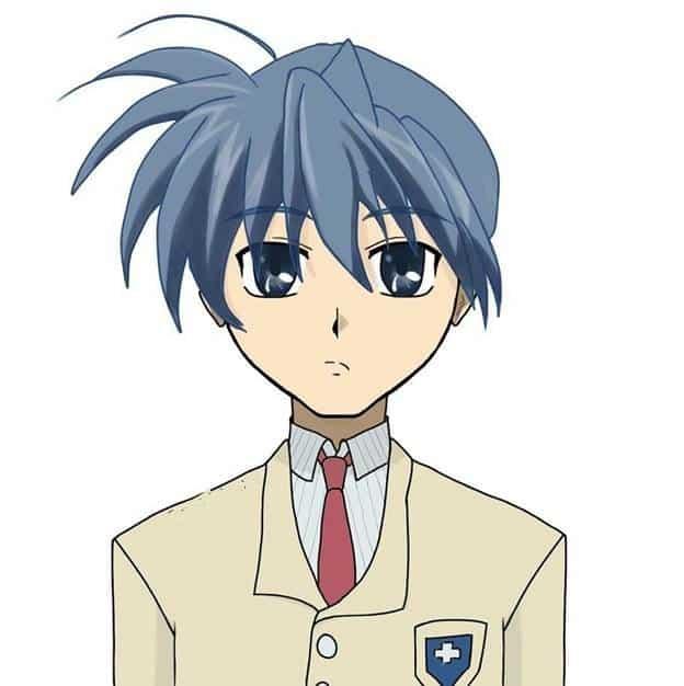 Томоя Окадзаки парень аниме синие волосы