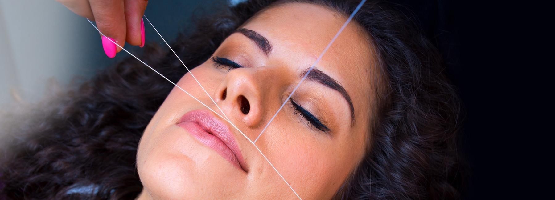 Устранение волос на щеках при помощи нити