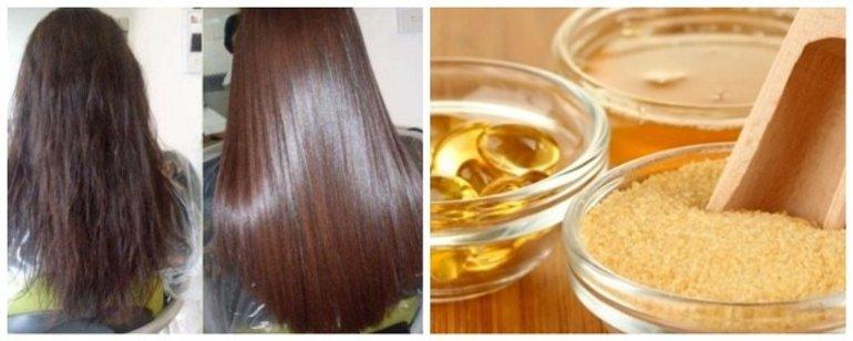 Маска для блеска и гладкости волос с желатином