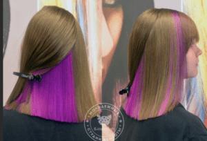 Скрытое окрашивание на русые волосы средней длины блоками