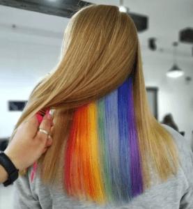 Скрытое окрашивание на русые волосы средней длины радуга