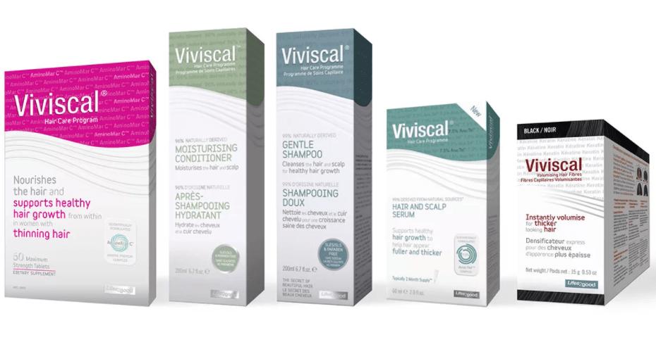 У Viviscal есть несколько разных продуктов, которые сгруппированы в две категории