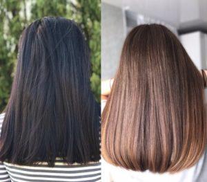обесцвечиванием черных волос