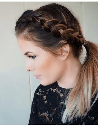 Боковая коса и хвостик