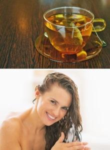 Полоскание волос чаем