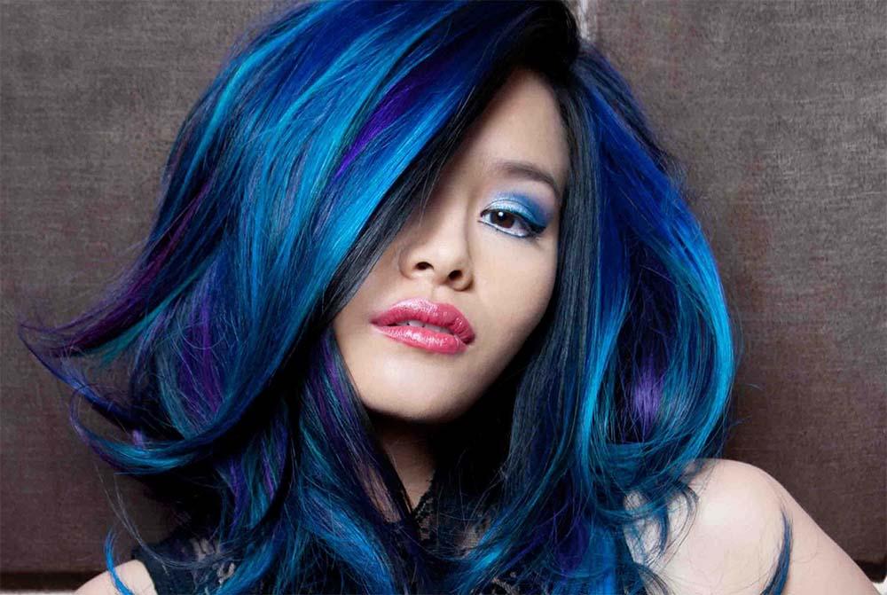 Как покрасить волосы в синий