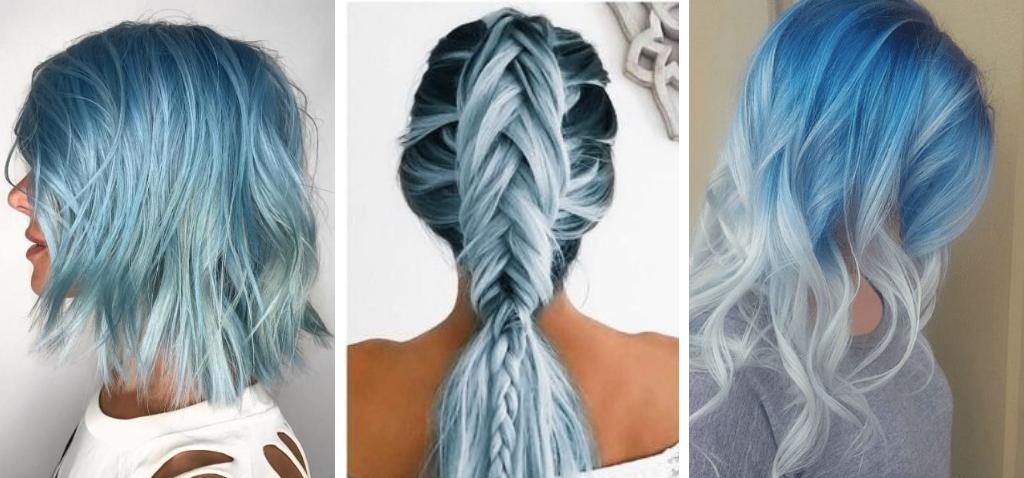 фото светло голубые волосы