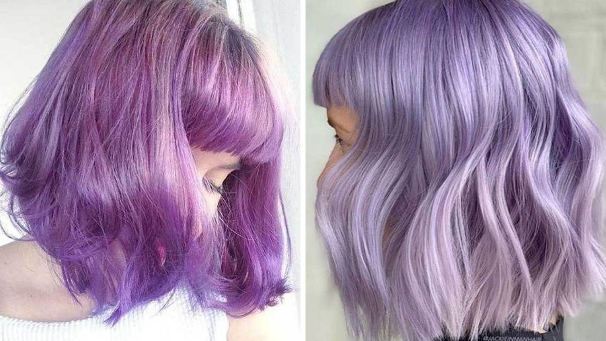 Лавандовые волосы с челкой фото