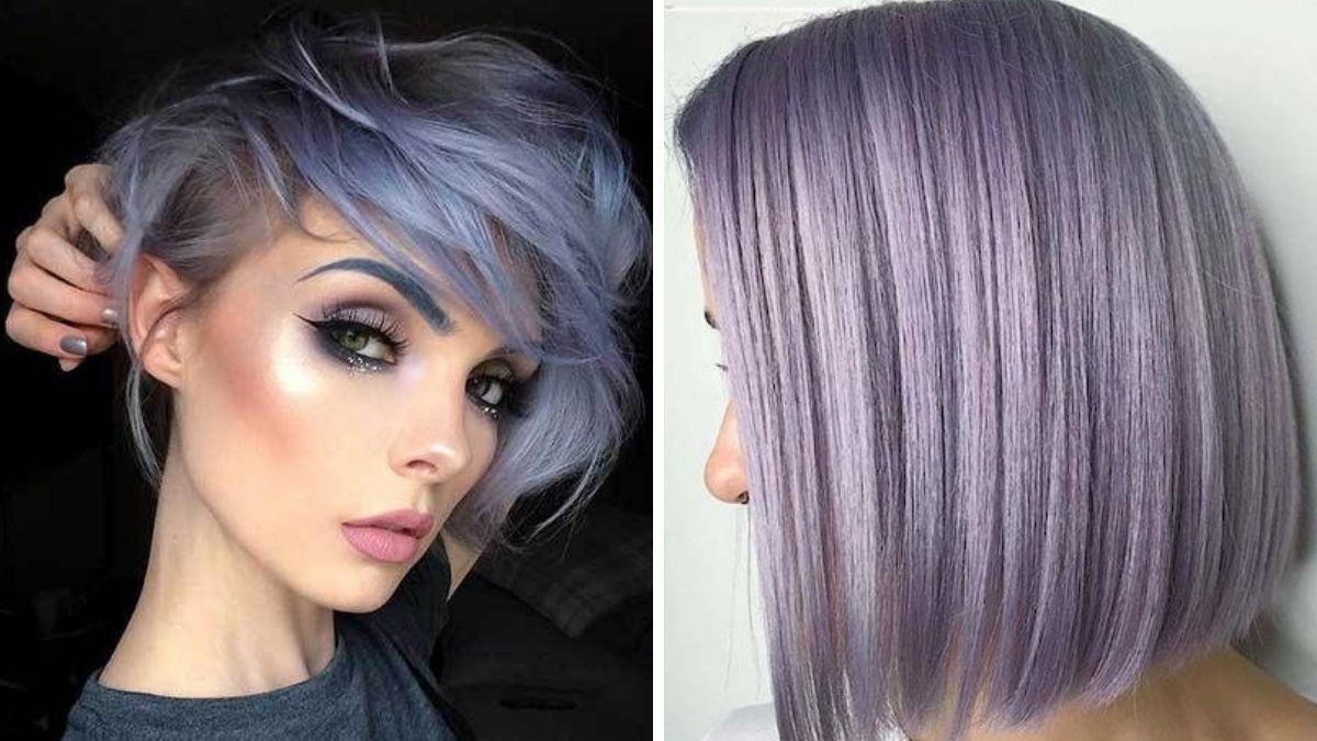 Лавандовые волосы с челкой