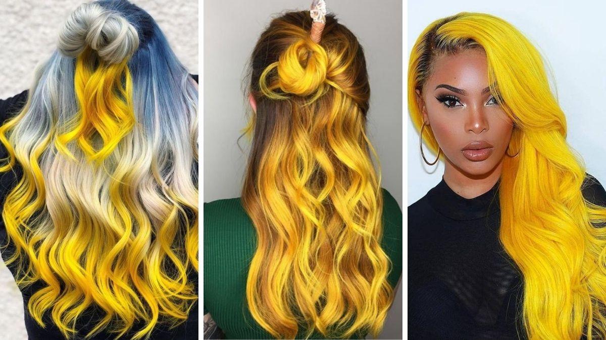 Модный яркий желтый цвет волос 2021 фото