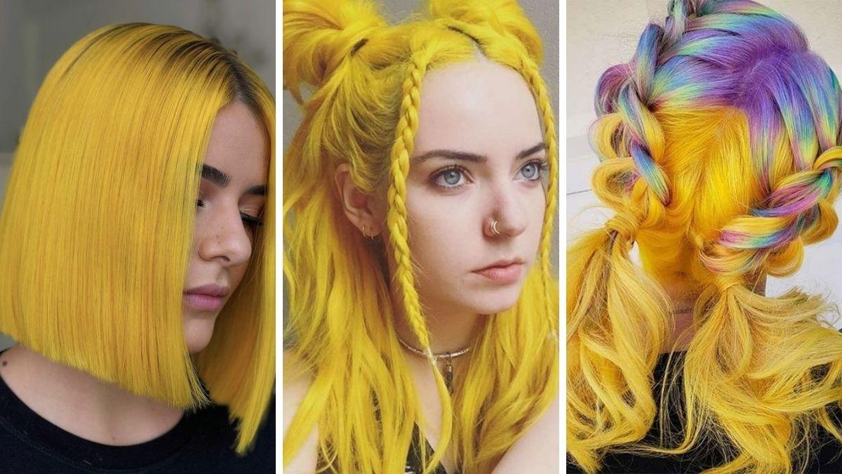 Модный яркий желтый цвет волос 2021