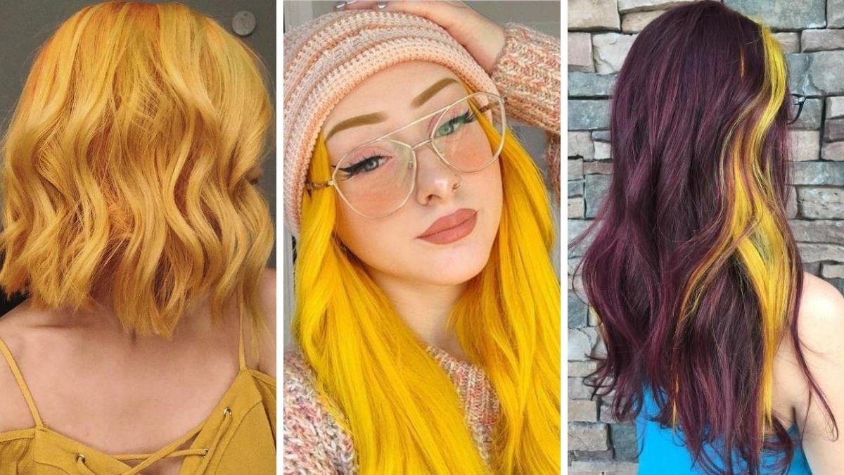 модный желтый цвет волос