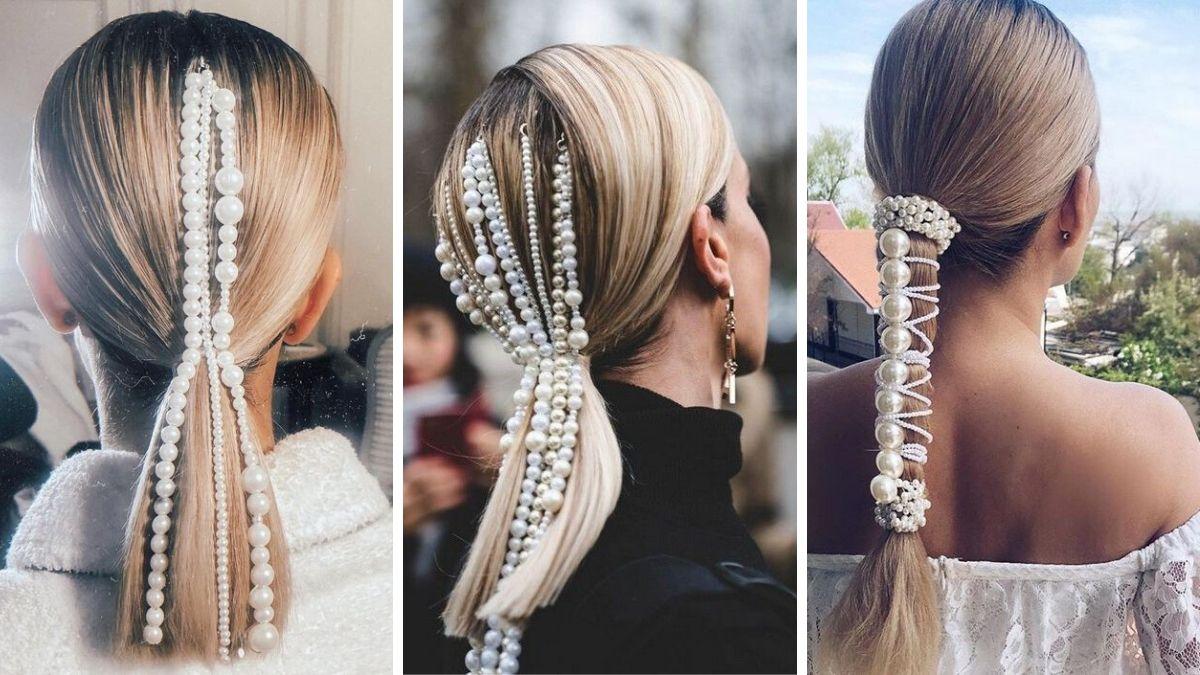 Необычный хвост на волосах с жемчугом