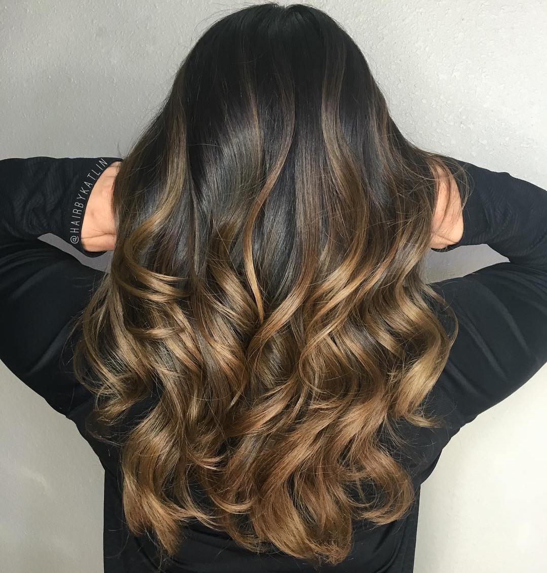 Омбре на коричневые волосы