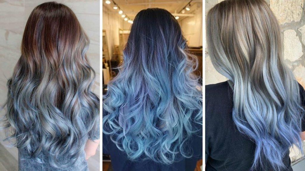 Голубое омбре в стиле синих волос сахарной ваты