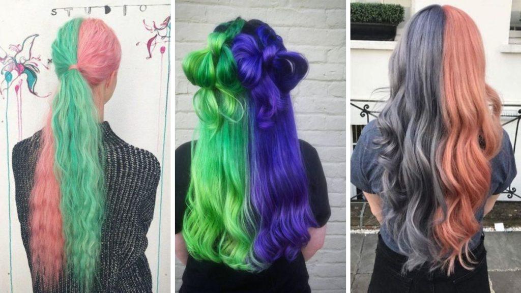 Волосы покрашены на половины фото