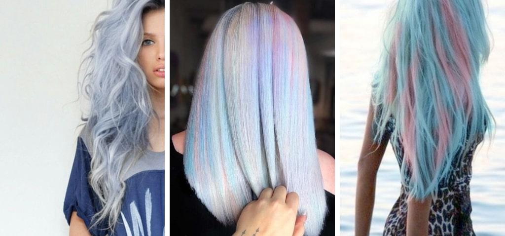 Нежно-розовые голубые фото волос