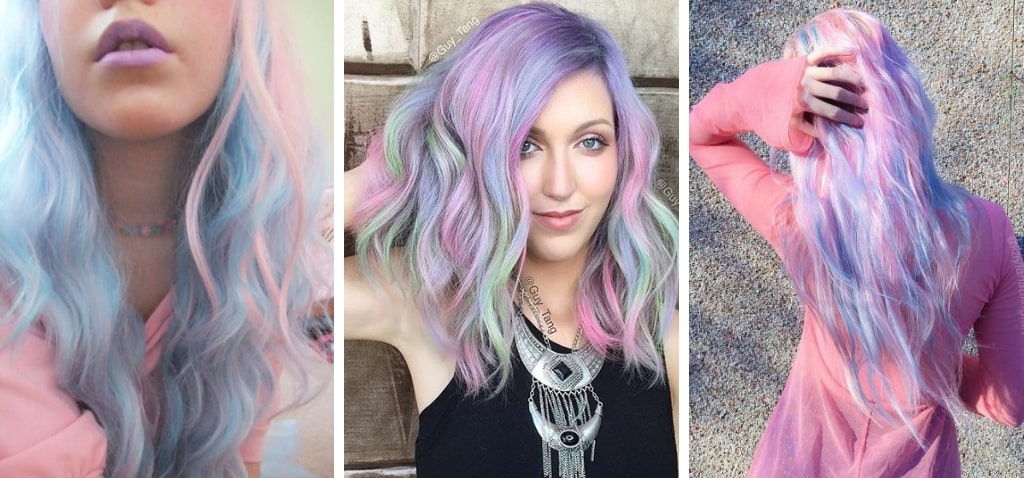 Нежно-розовые голубые волосы фото