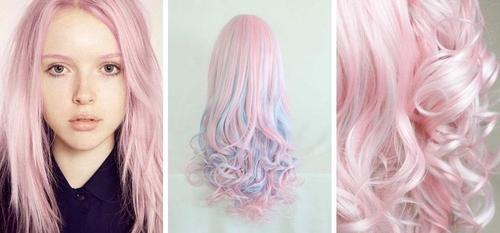 Нежно-розовый цвет фото волос